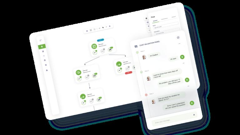 Visual chatbot designer for AI chatbot platform